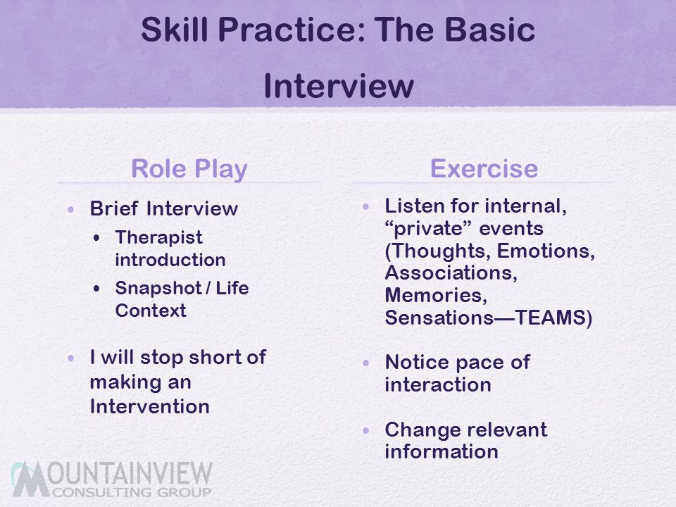 Skill Practice: The Basic Interview