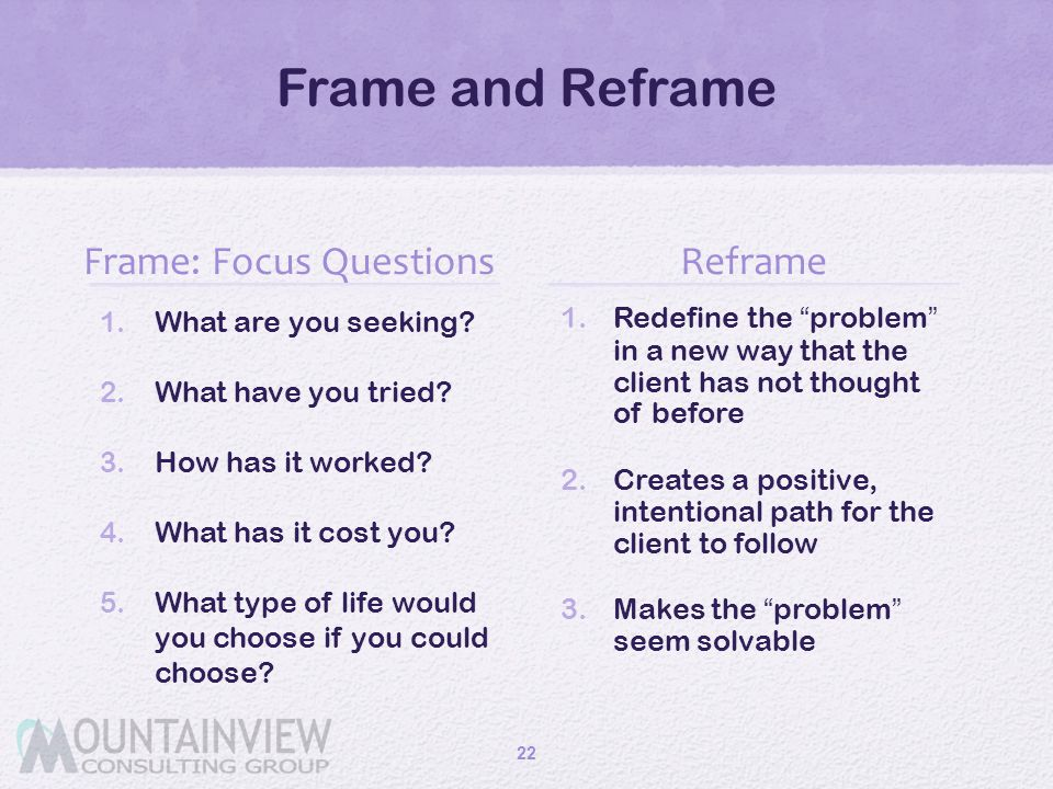 Frame: Focus Questions