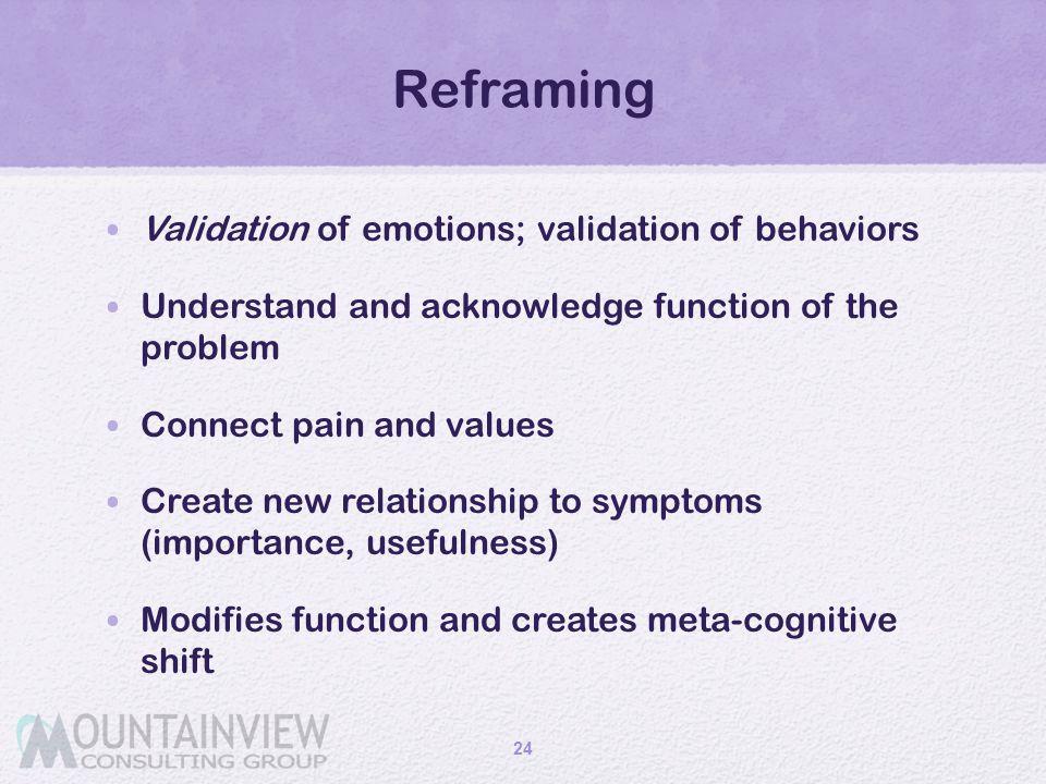 Reframing Validation of emotions; validation of behaviors