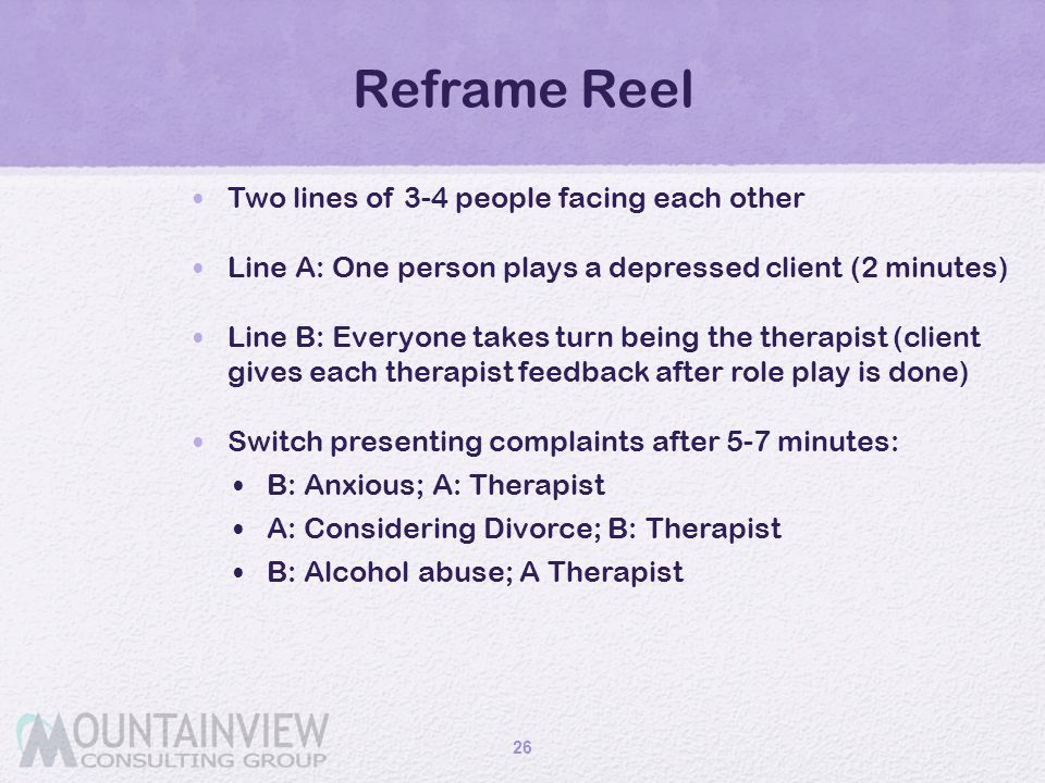 Reframe Reel Two lines of 3-4 people facing each other