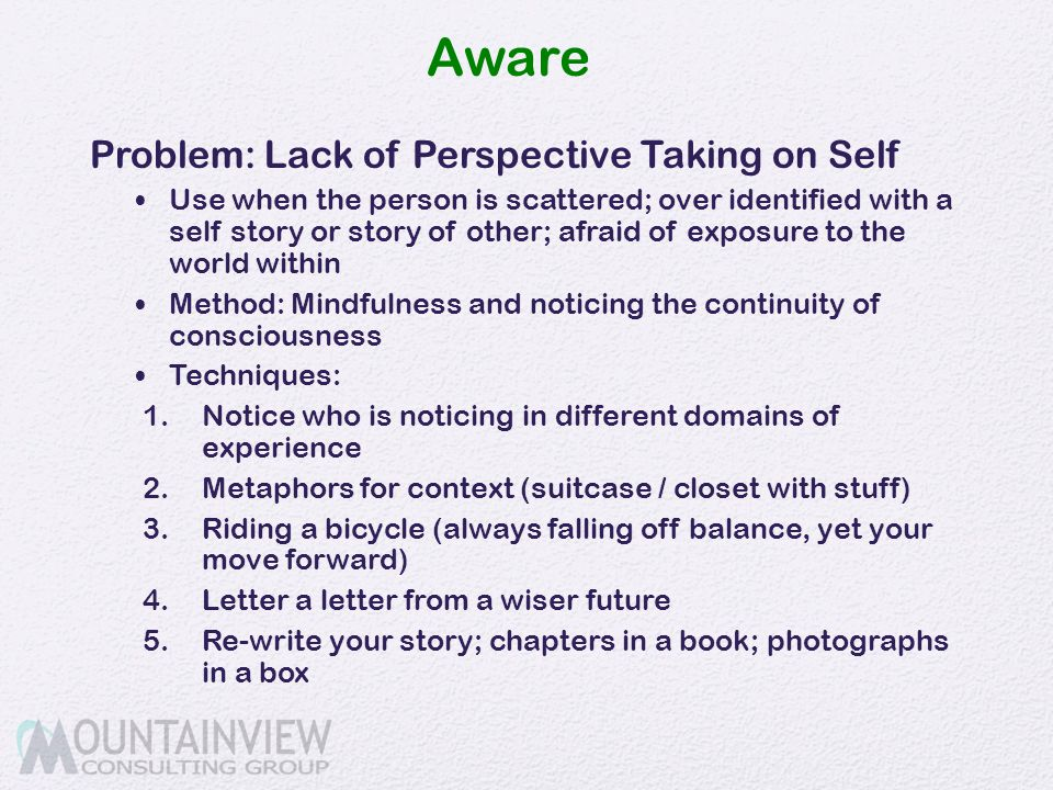 Aware Problem: Lack of Perspective Taking on Self