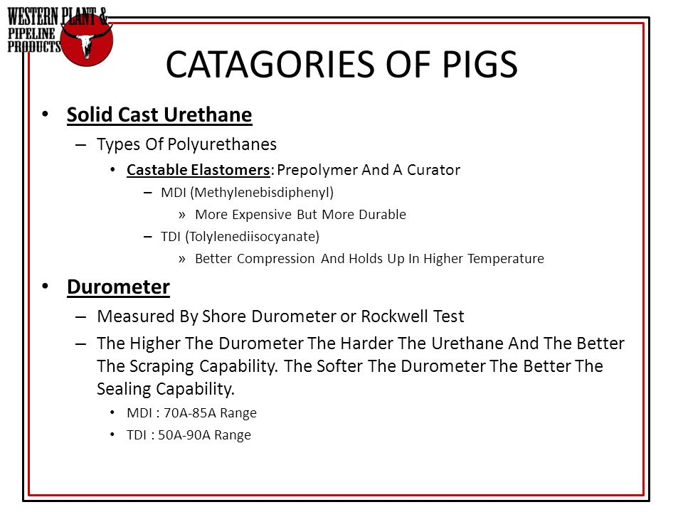 CATAGORIES OF PIGS Solid Cast Urethane Durometer