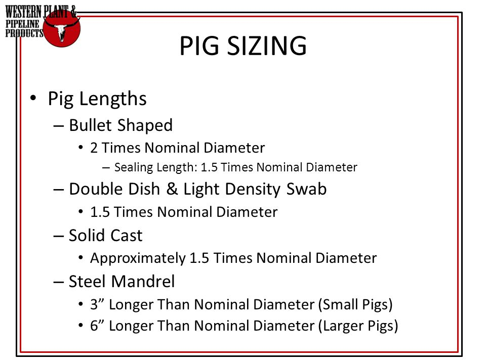 PIG SIZING Pig Lengths Bullet Shaped Double Dish & Light Density Swab