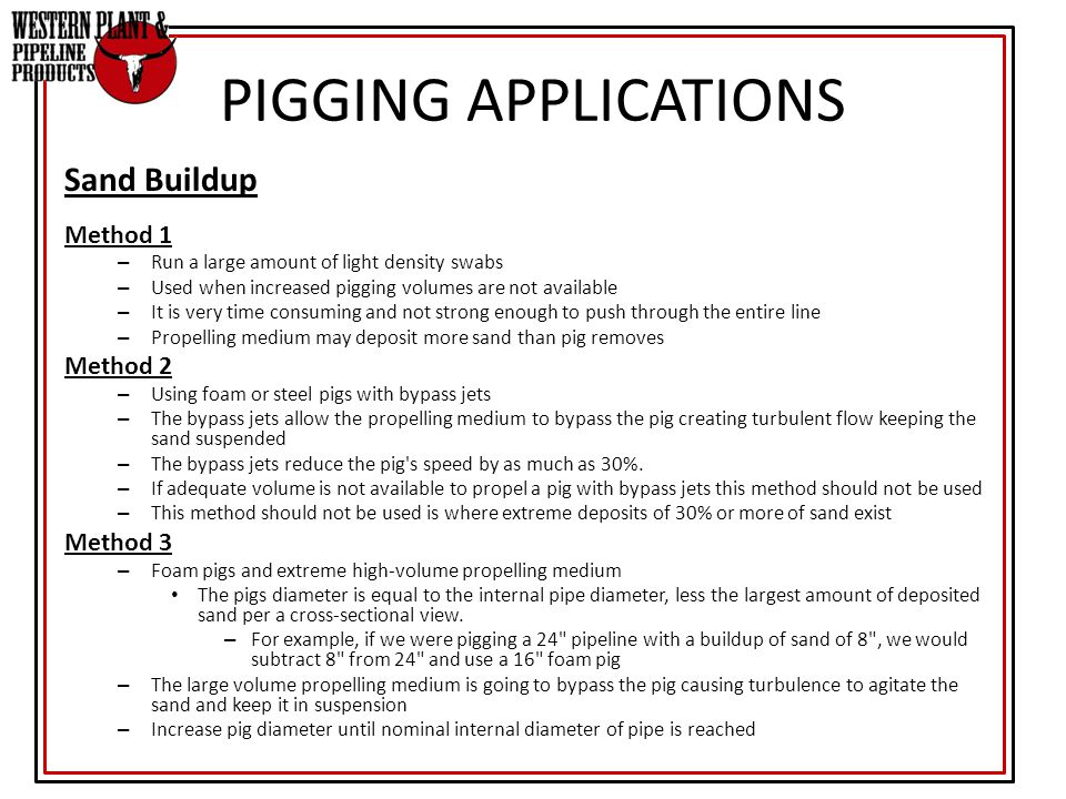 PIGGING APPLICATIONS Sand Buildup Method 1 Method 2 Method 3