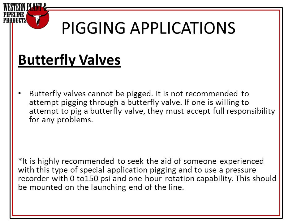 PIGGING APPLICATIONS Butterfly Valves