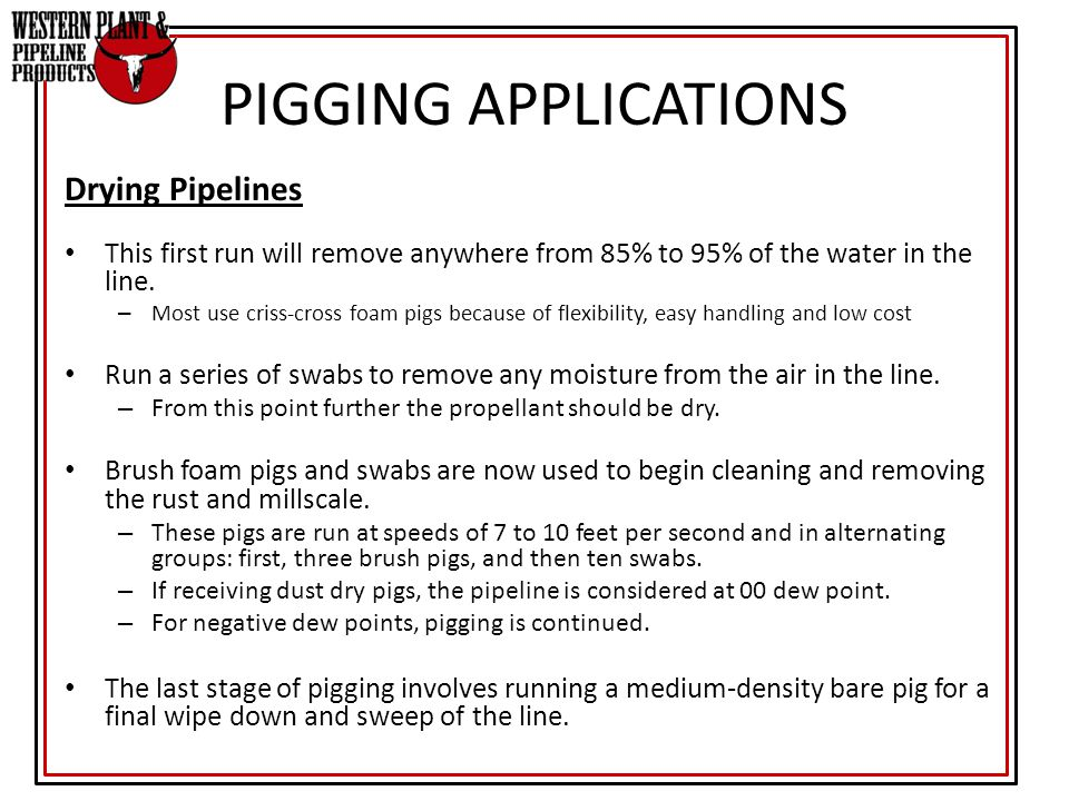 PIGGING APPLICATIONS Drying Pipelines