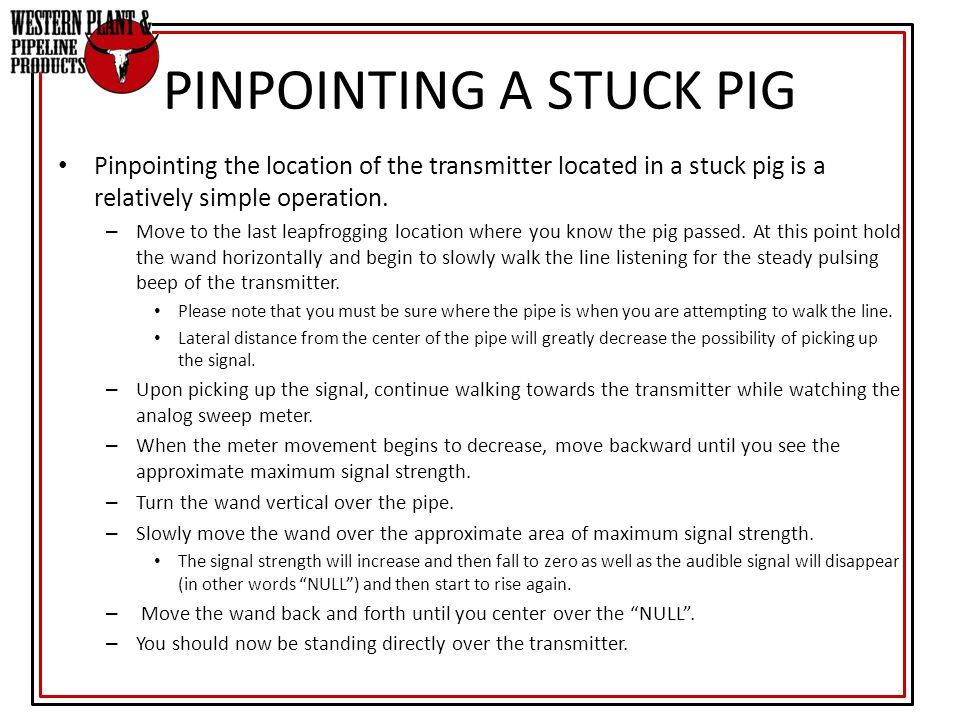PINPOINTING A STUCK PIG