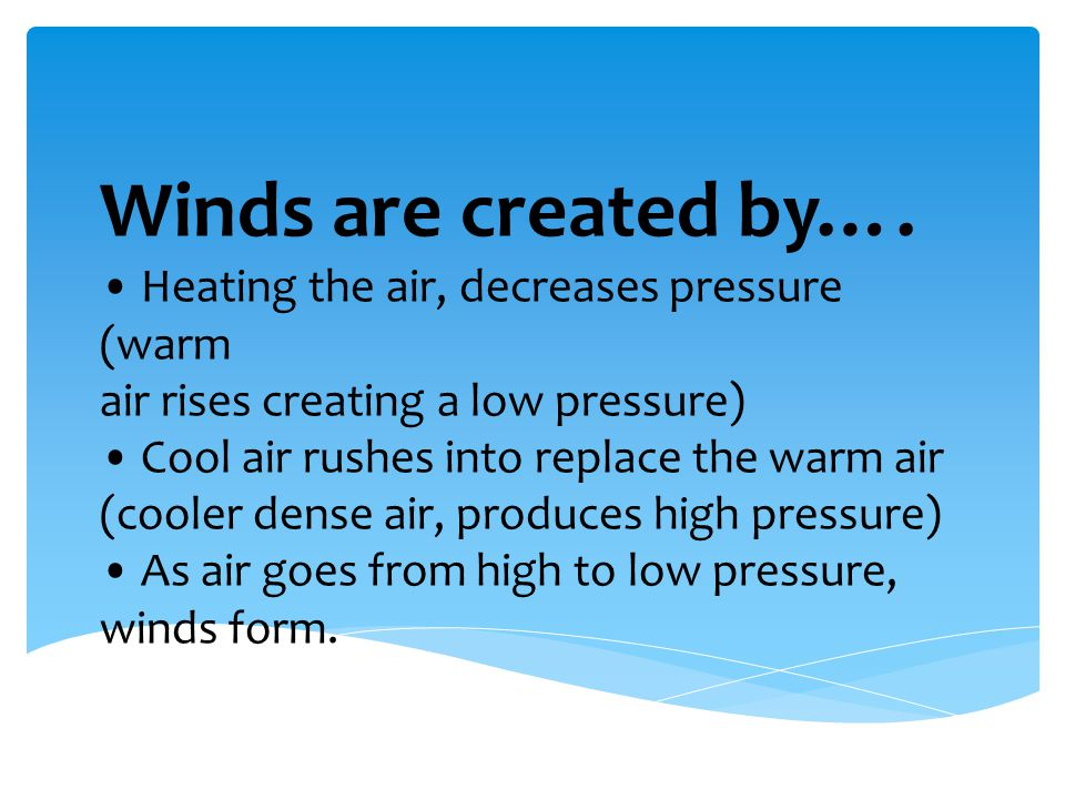 Winds are created by….