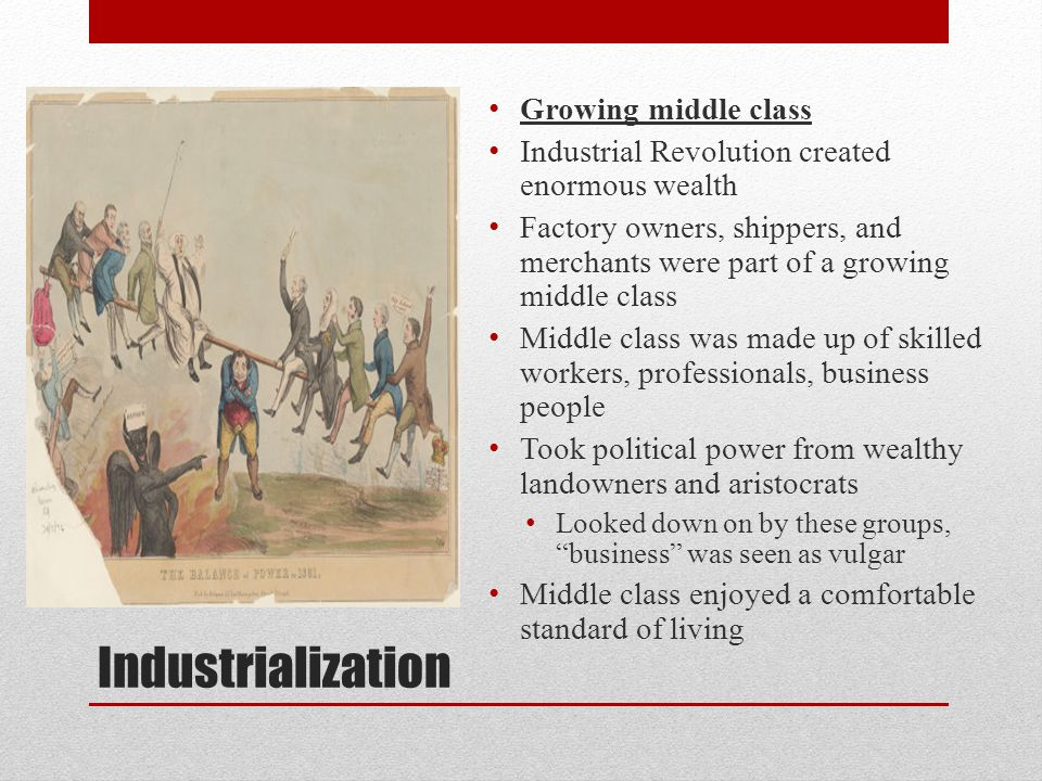 Industrialization Growing middle class