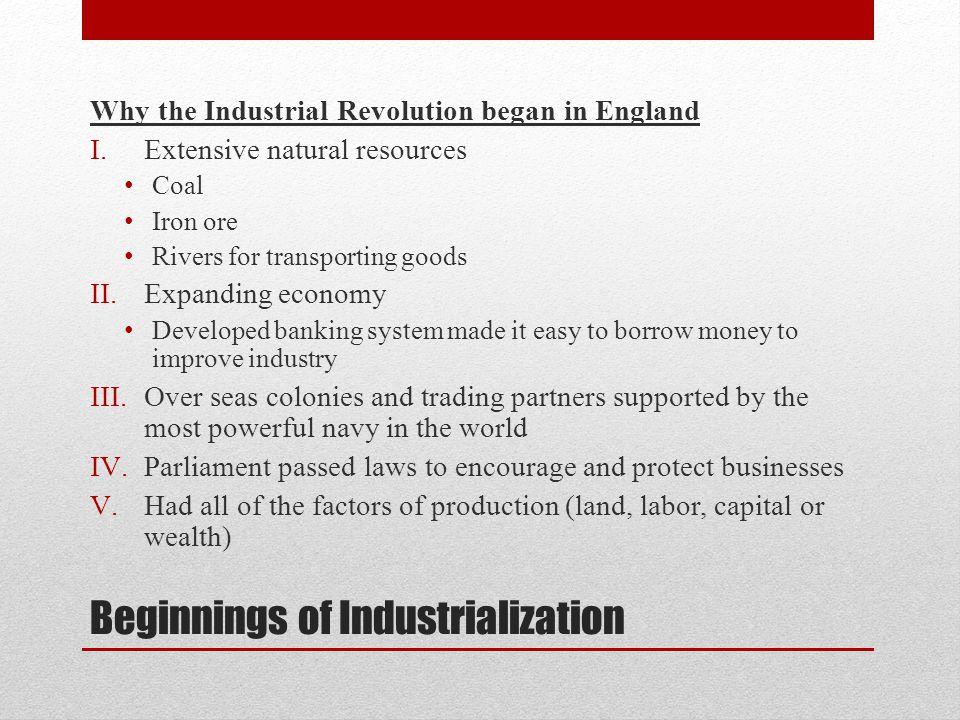 Beginnings of Industrialization