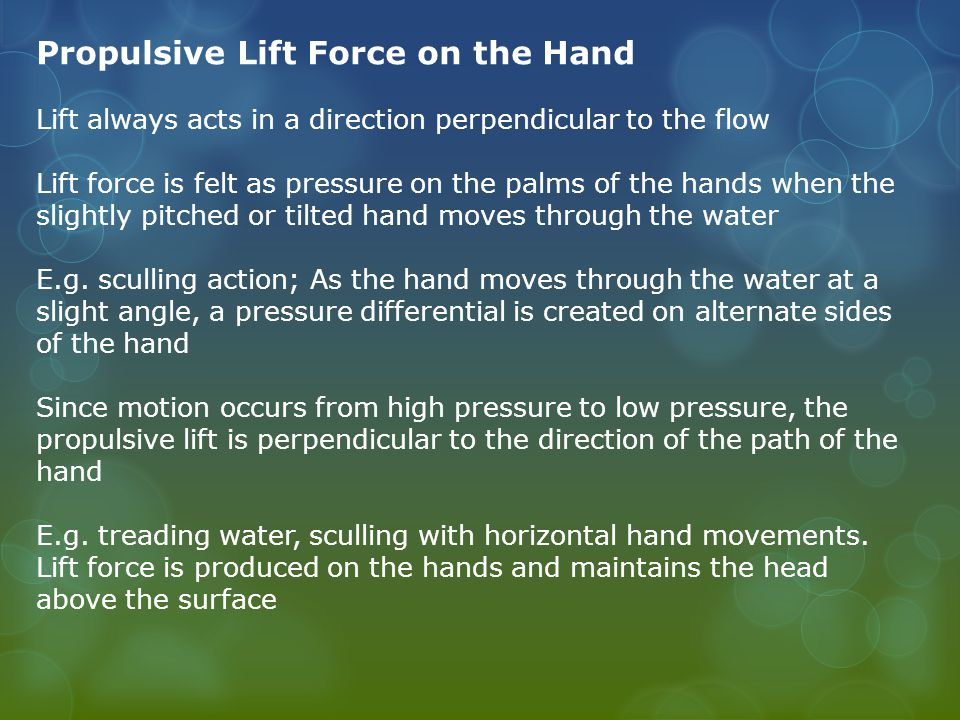 Propulsive Lift Force on the Hand