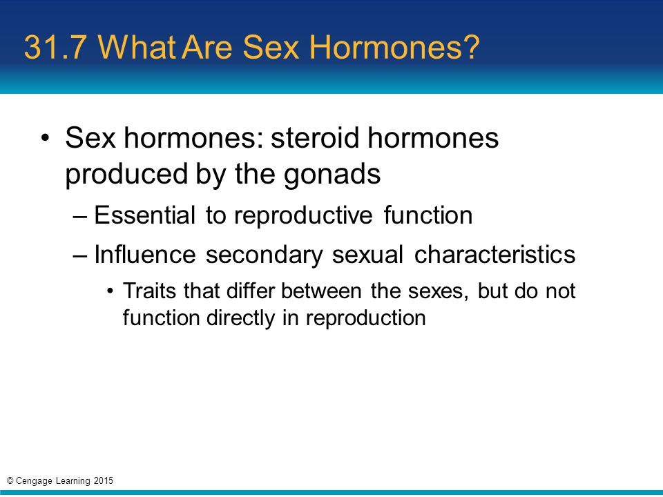 31.7 What Are Sex Hormones Sex hormones: steroid hormones produced by the gonads. Essential to reproductive function.