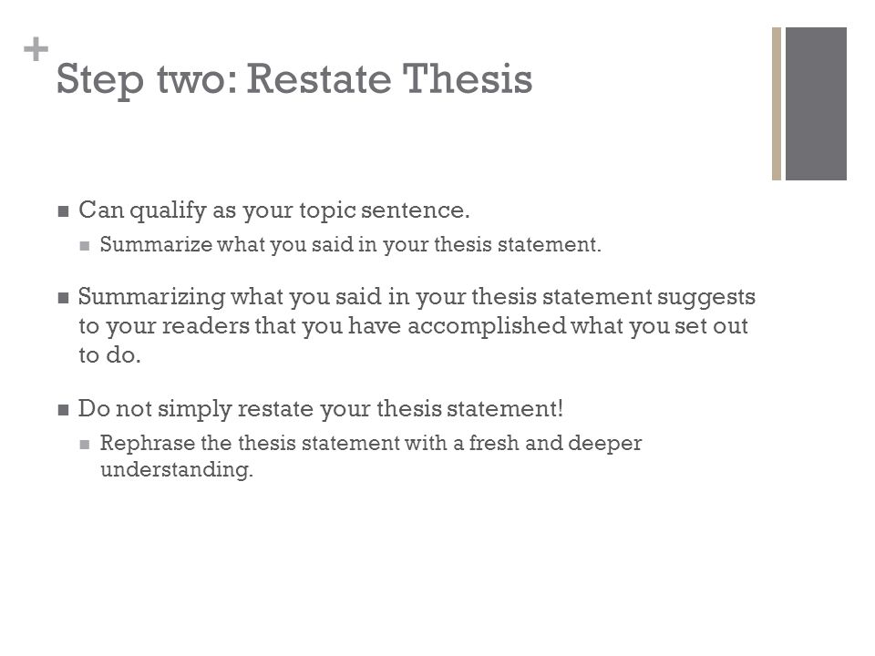 Step two: Restate Thesis