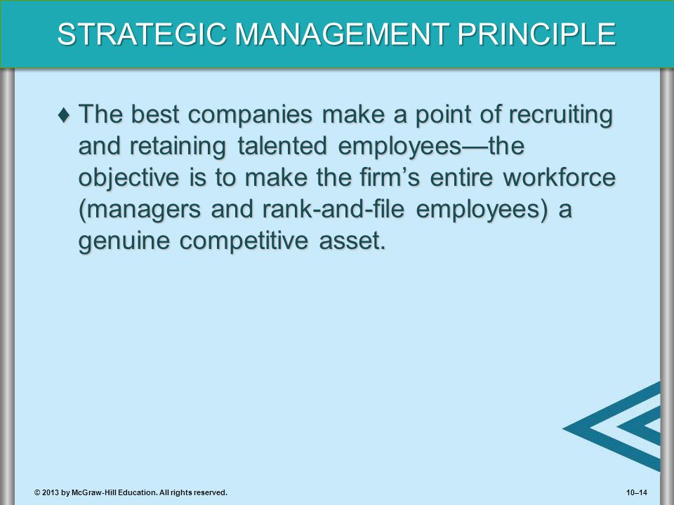 The best companies make a point of recruiting and retaining talented employees—the objective is to make the firm's entire workforce (managers and rank-and-file employees) a genuine competitive asset.