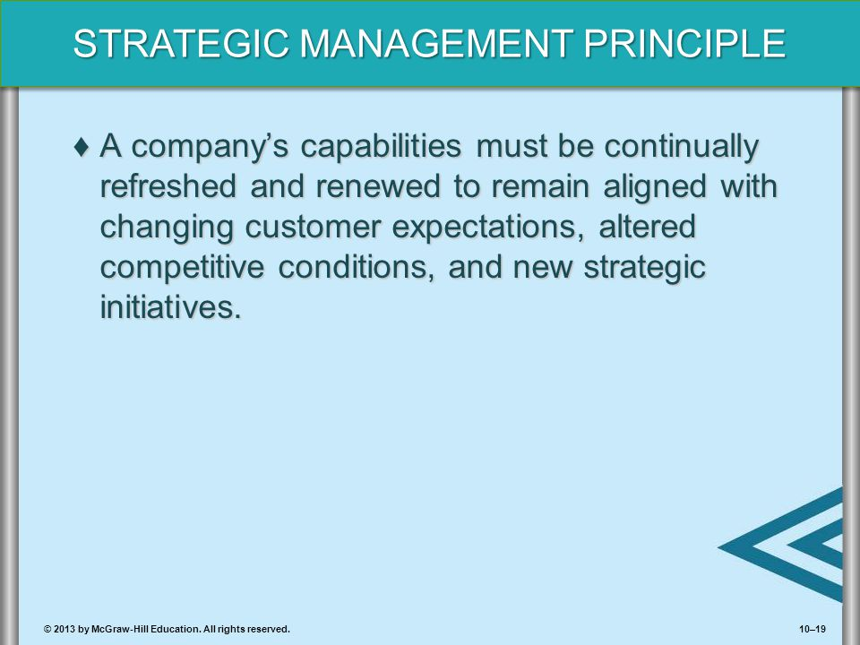 A company's capabilities must be continually refreshed and renewed to remain aligned with changing customer expectations, altered competitive conditions, and new strategic initiatives.