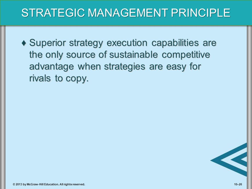 Superior strategy execution capabilities are the only source of sustainable competitive advantage when strategies are easy for rivals to copy.