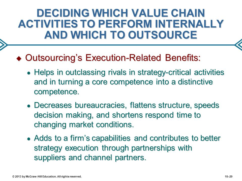 DECIDING WHICH VALUE CHAIN ACTIVITIES TO PERFORM INTERNALLY AND WHICH TO OUTSOURCE