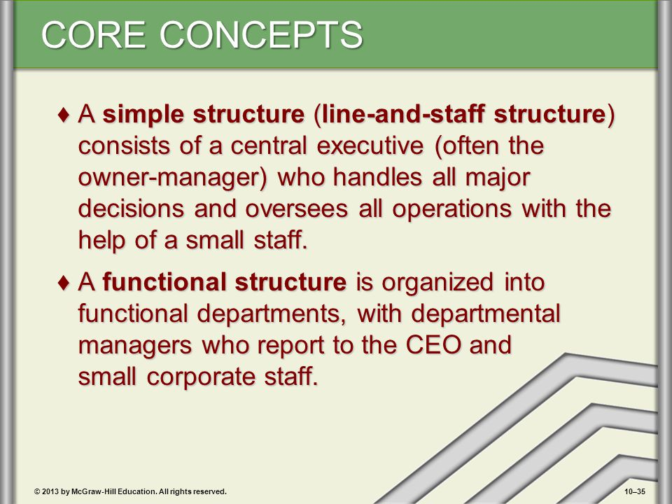 A simple structure (line-and-staff structure) consists of a central executive (often the owner-manager) who handles all major decisions and oversees all operations with the help of a small staff.