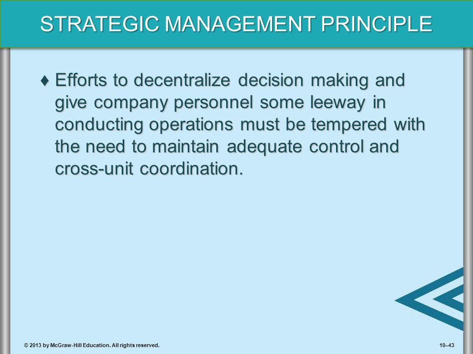 Efforts to decentralize decision making and give company personnel some leeway in conducting operations must be tempered with the need to maintain adequate control and cross-unit coordination.