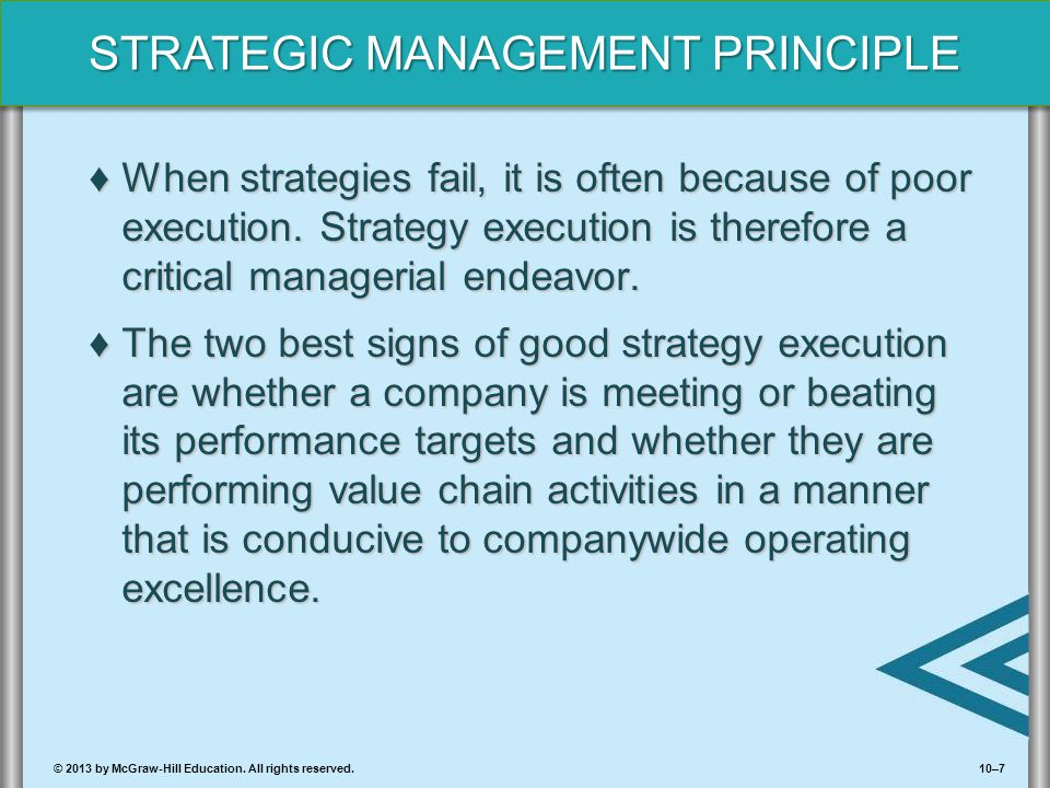 When strategies fail, it is often because of poor execution