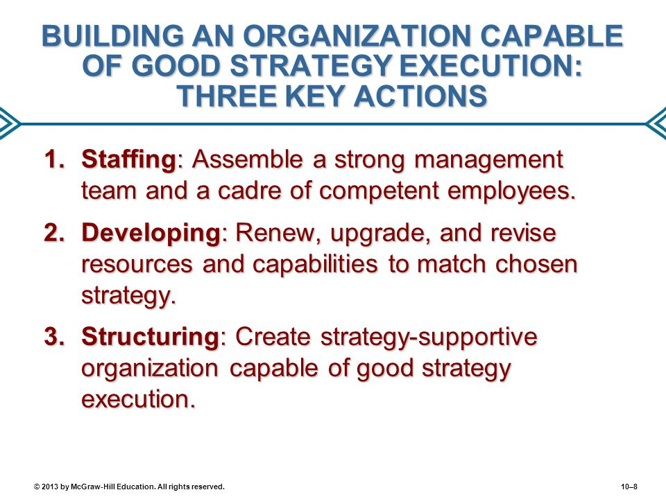 BUILDING AN ORGANIZATION CAPABLE OF GOOD STRATEGY EXECUTION: THREE KEY ACTIONS