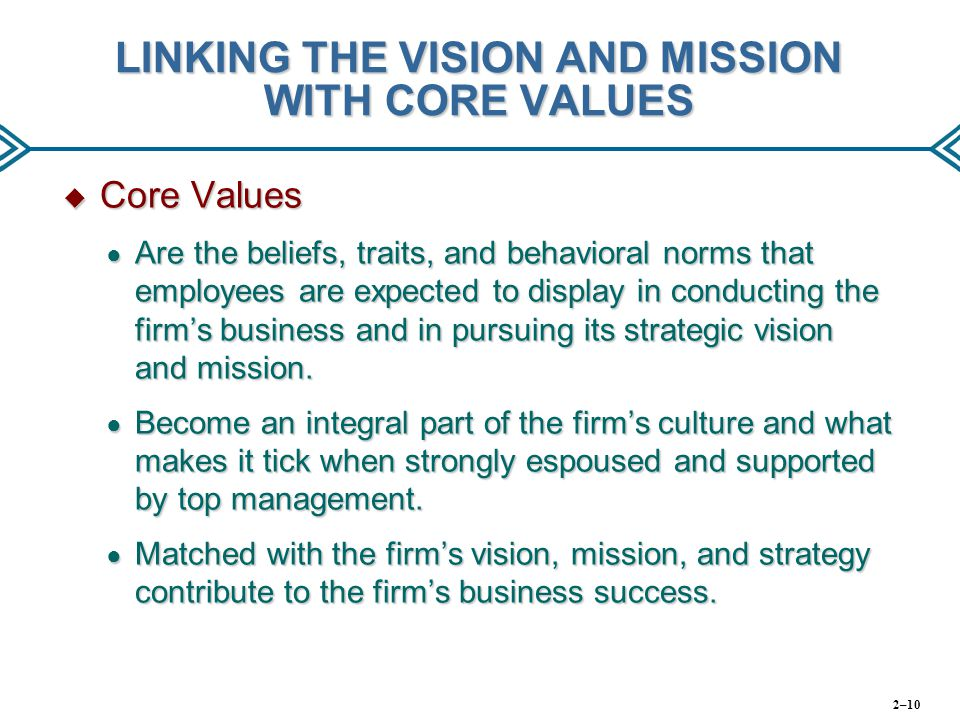 LINKING THE VISION AND MISSION WITH CORE VALUES
