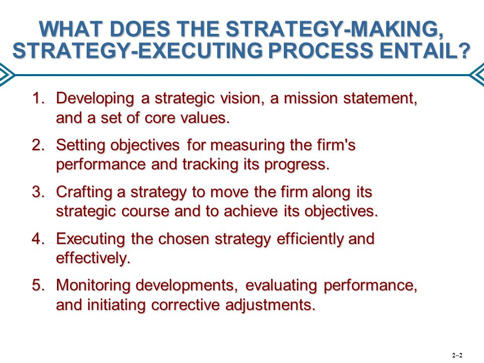 WHAT DOES THE STRATEGY-MAKING, STRATEGY-EXECUTING PROCESS ENTAIL