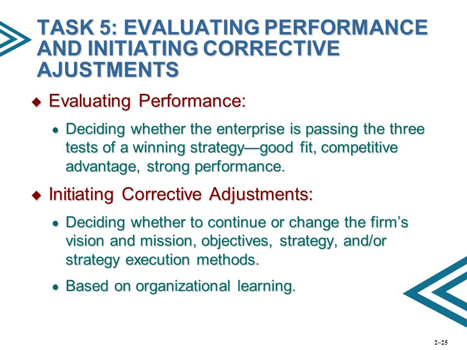 TASK 5: EVALUATING PERFORMANCE AND INITIATING CORRECTIVE AJUSTMENTS