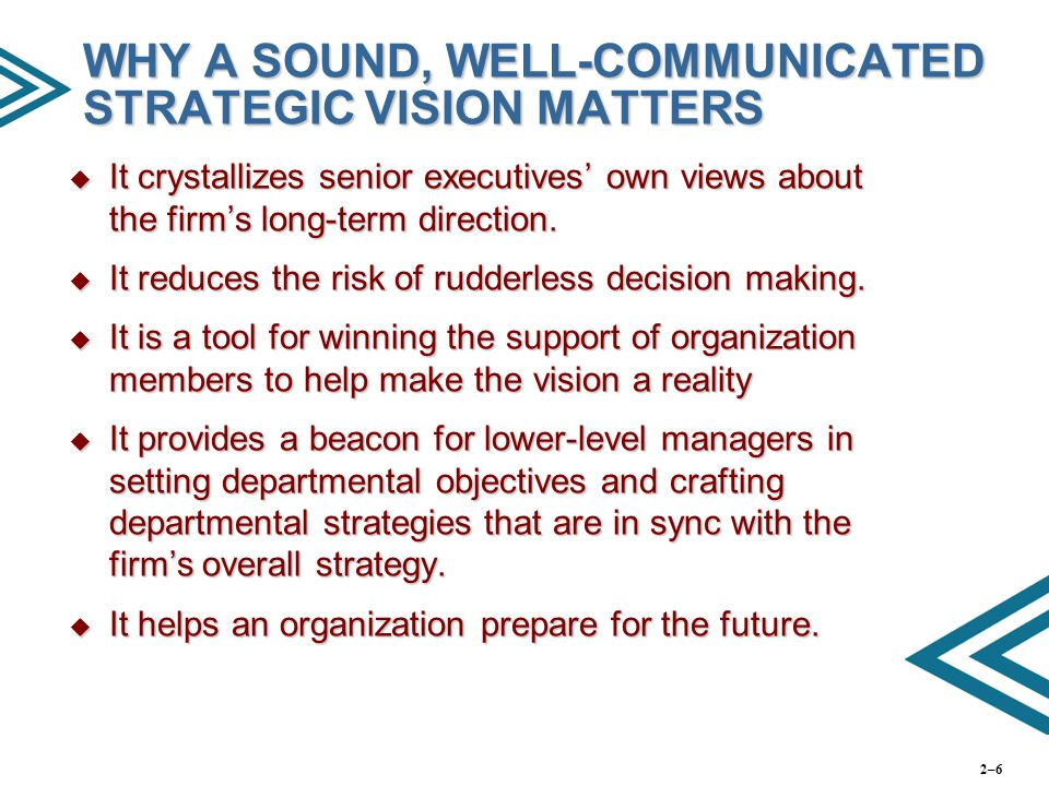 WHY A SOUND, WELL-COMMUNICATED STRATEGIC VISION MATTERS