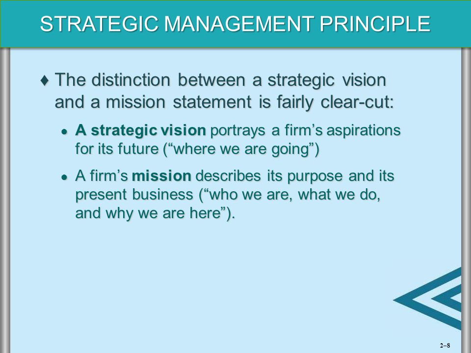 The distinction between a strategic vision and a mission statement is fairly clear-cut: