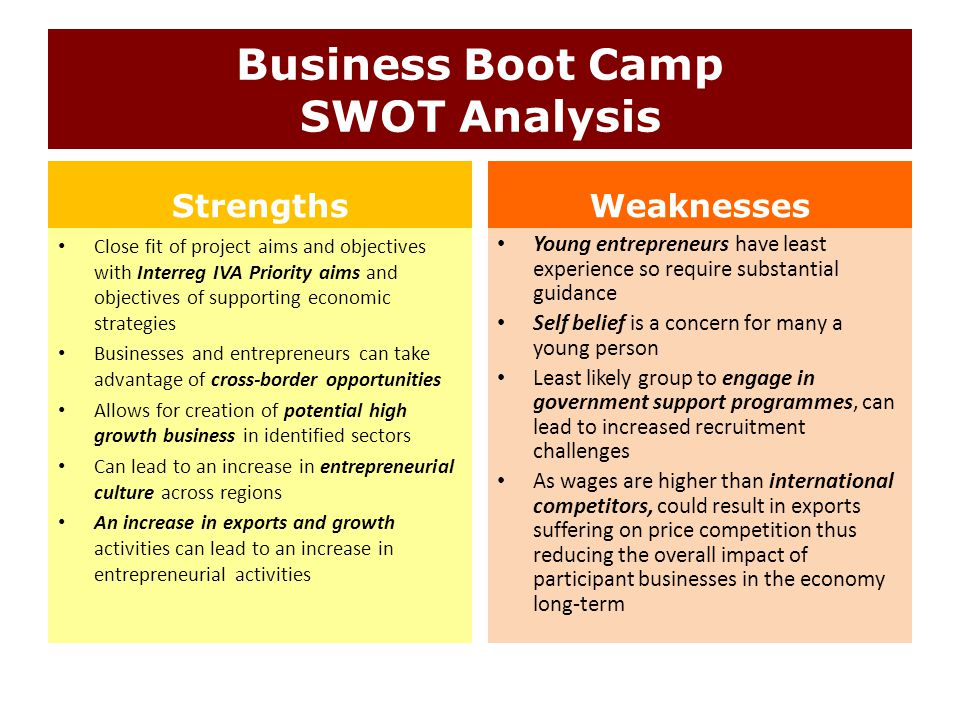 Business Boot Camp SWOT Analysis