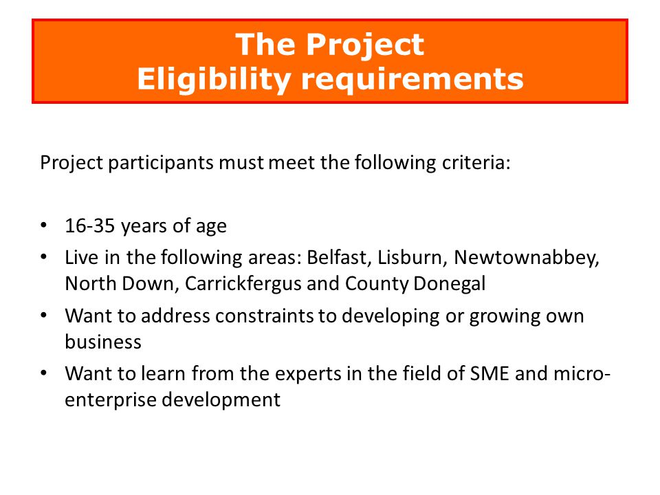 The Project Eligibility requirements