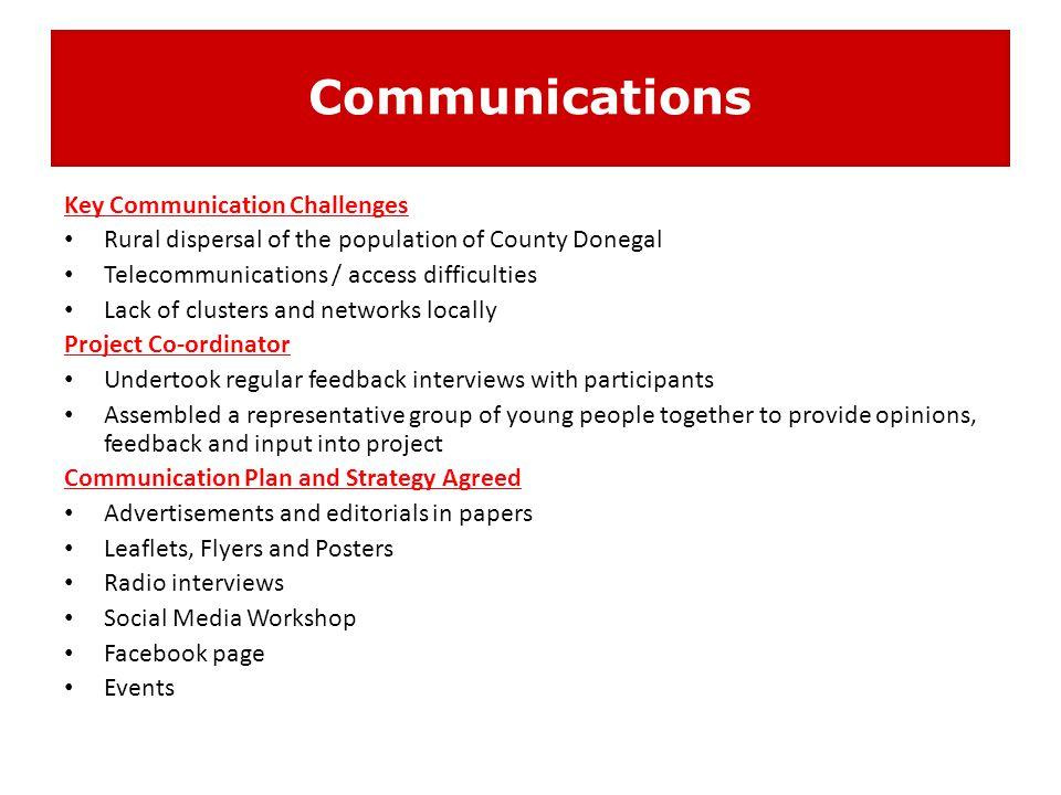 Communications Key Communication Challenges