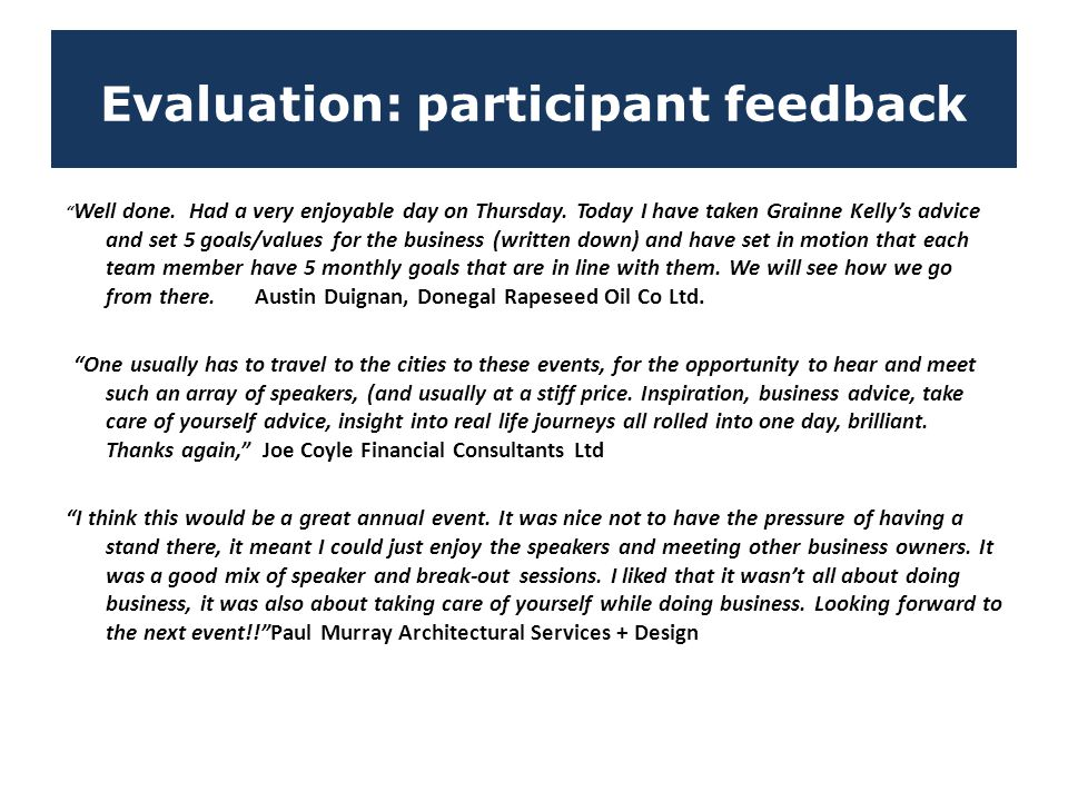 Evaluation: participant feedback