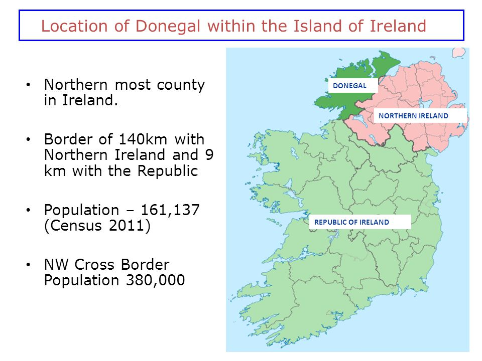 Location of Donegal within the Island of Ireland