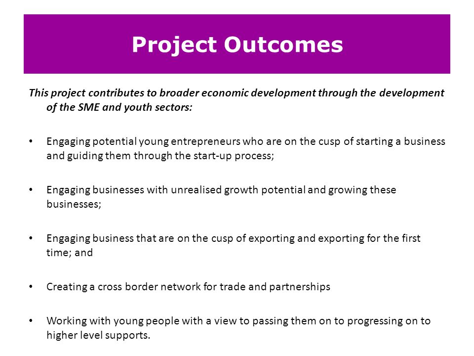 Project Outcomes This project contributes to broader economic development through the development of the SME and youth sectors: