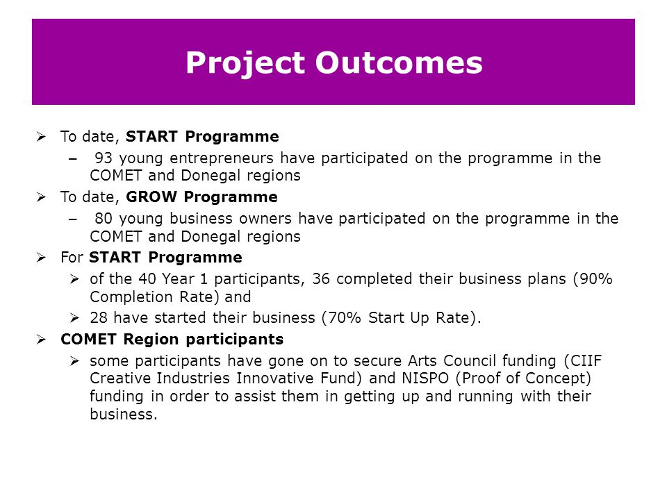 Project Outcomes To date, START Programme