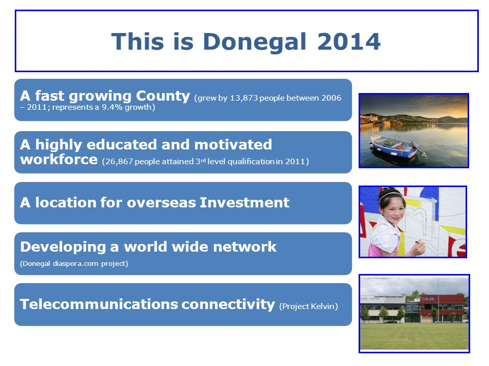 This is Donegal 2014 A fast growing County (grew by 13,873 people between 2006 – 2011; represents a 9.4% growth)