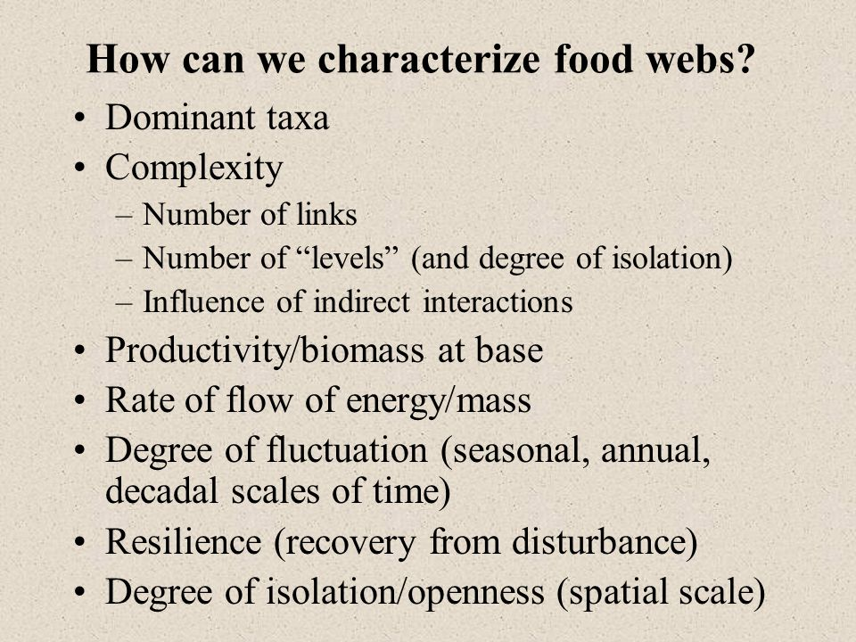 How can we characterize food webs