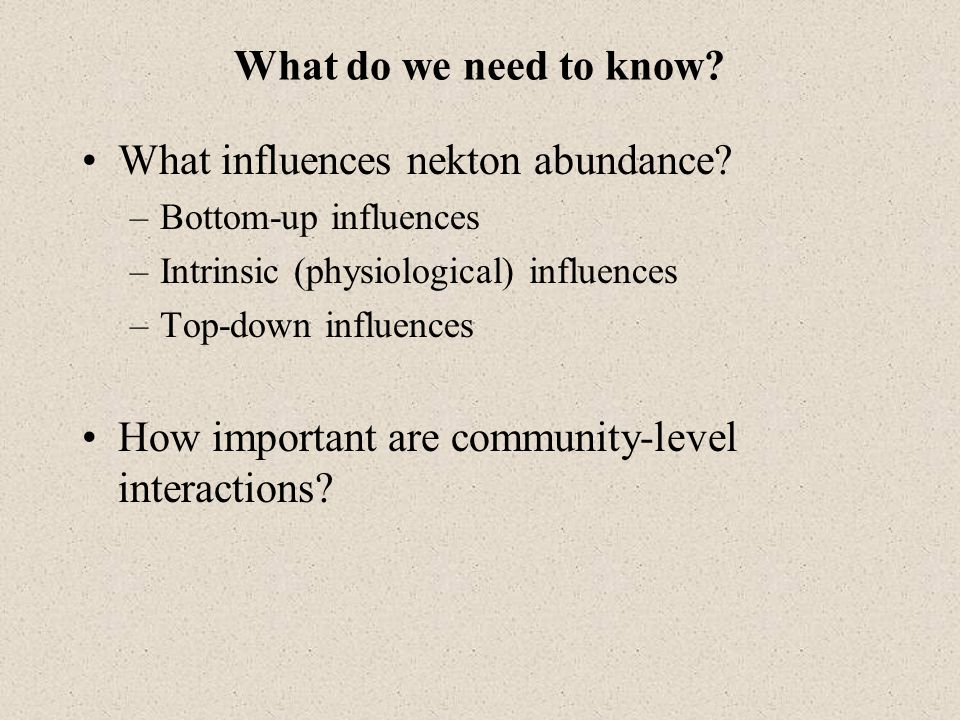 What influences nekton abundance