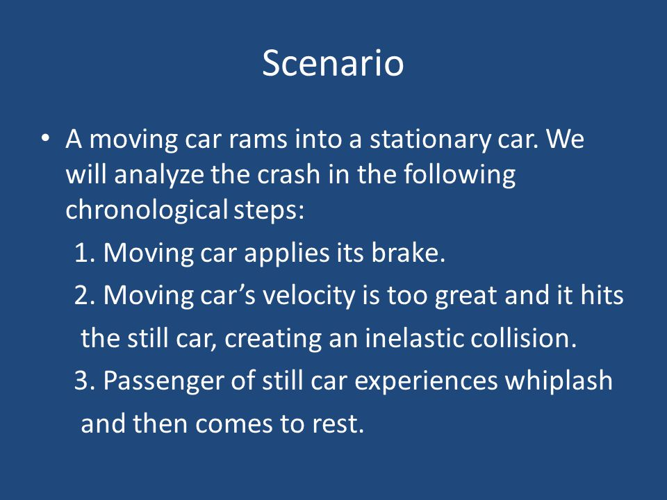 Scenario A moving car rams into a stationary car. We will analyze the crash in the following chronological steps:
