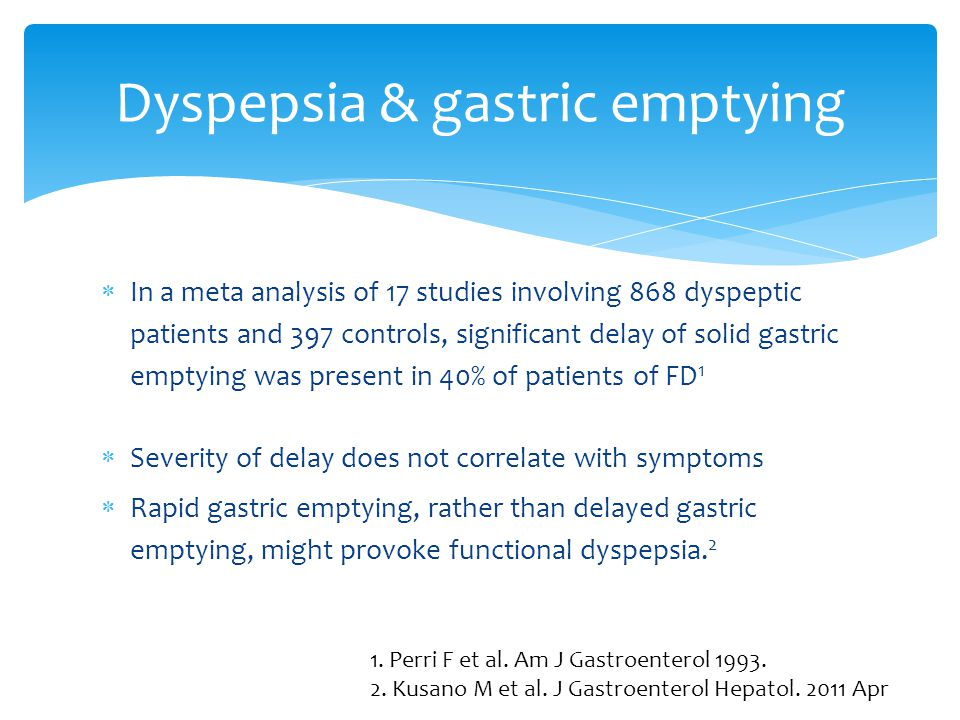 Dyspepsia & gastric emptying