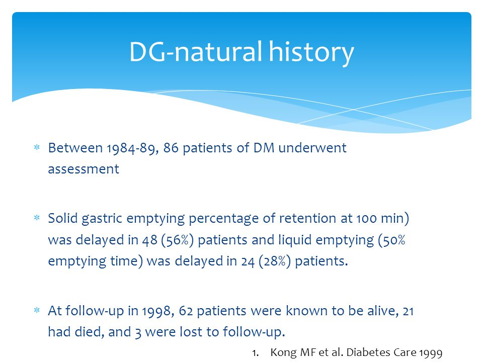 DG-natural history Between 1984-89, 86 patients of DM underwent assessment.