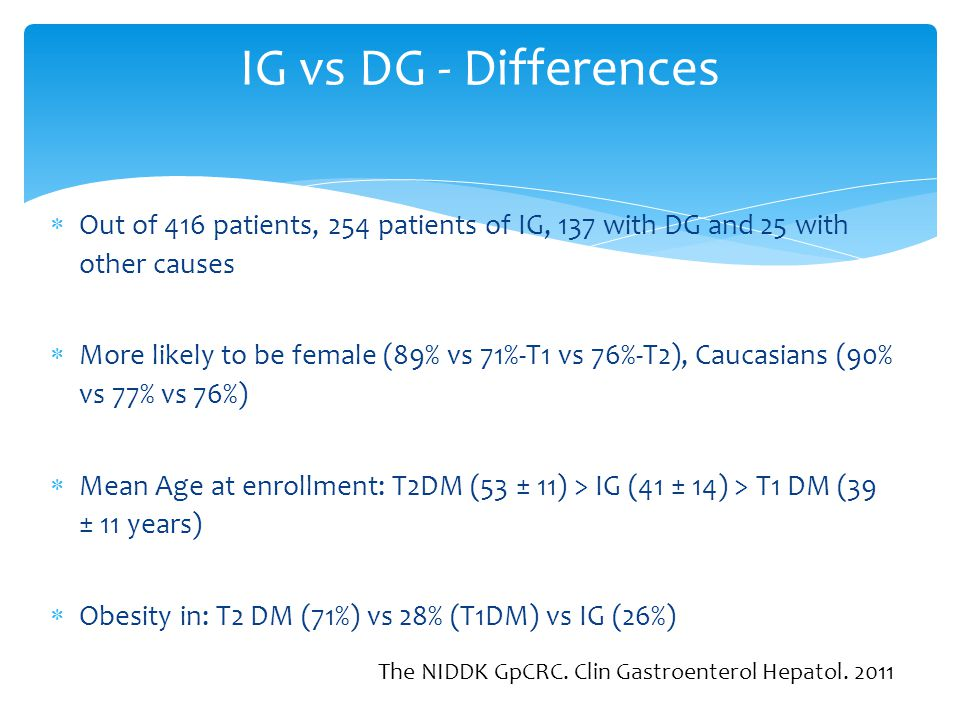 IG vs DG - Differences Out of 416 patients, 254 patients of IG, 137 with DG and 25 with other causes.