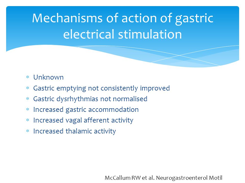 Mechanisms of action of gastric electrical stimulation