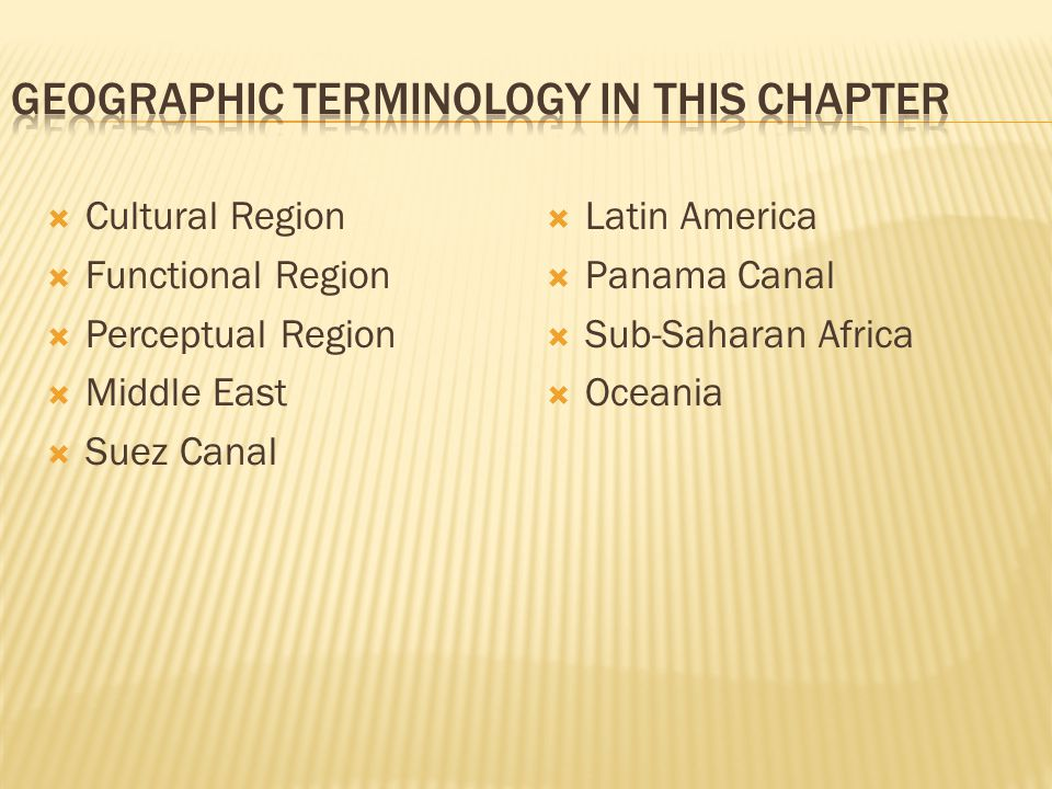 Geographic Terminology in this Chapter