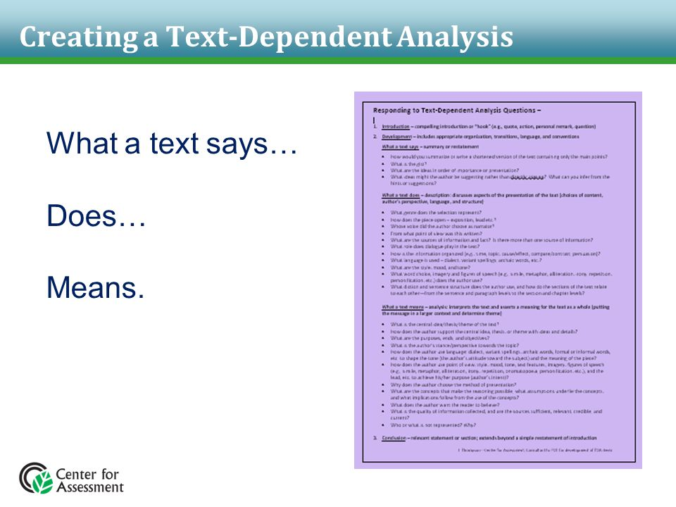 Creating a Text-Dependent Analysis