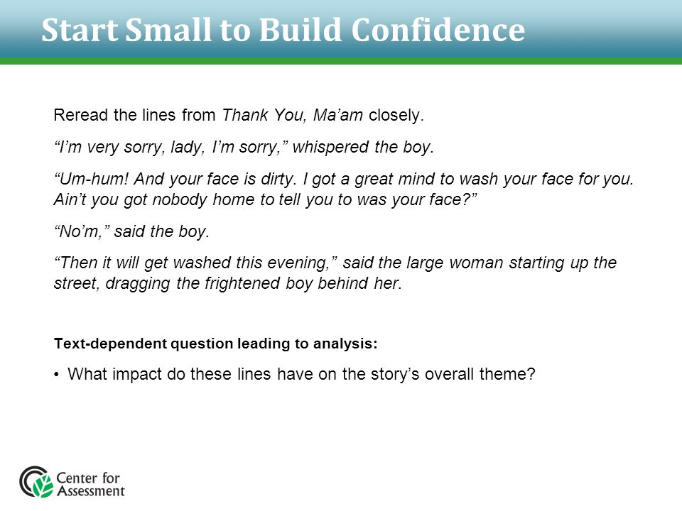 Start Small to Build Confidence