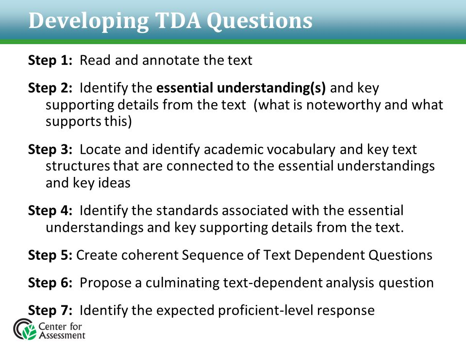 Developing TDA Questions