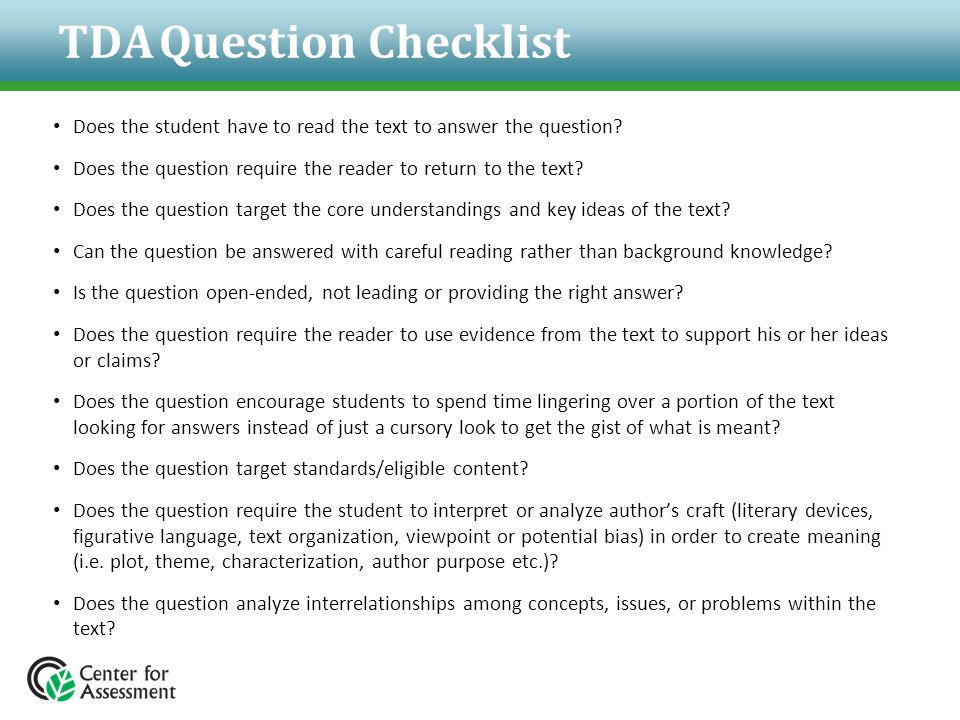 TDA Question Checklist